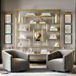 идеи за етажерки за стена: Стилна стенна етажерка в златисто