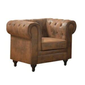 Кафяв фотьойл с дървени крачета Камел