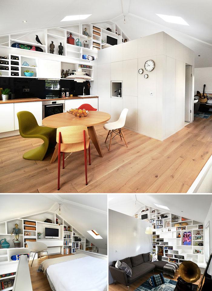 Функционална преграда за обособяване на пространства в студио