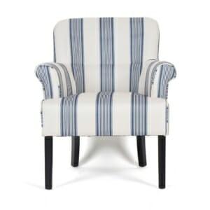 Кресло с текстилна дамаска в синьо и бяло райе Менди