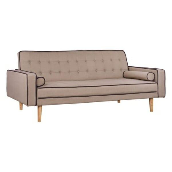 Стилен разтегателен диван с дървени крачета в бежово