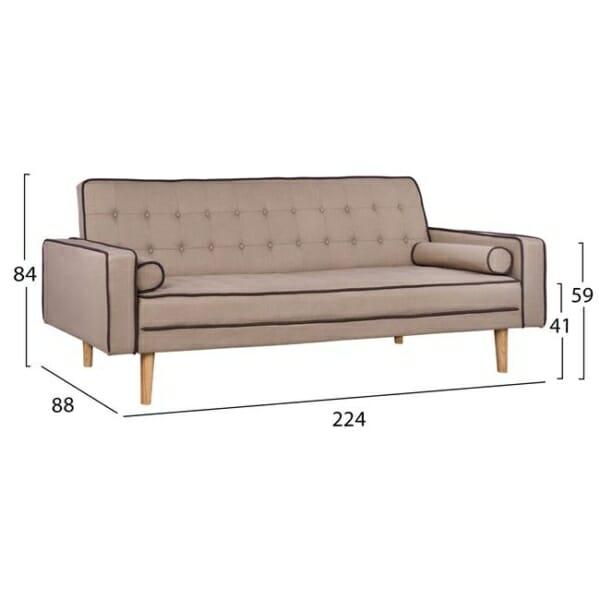 Стилен разтегателен диван с дървени крачета в бежово размери