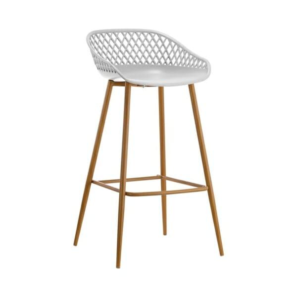 Бар стол с полипропиленова седалка и метални крака в бяло