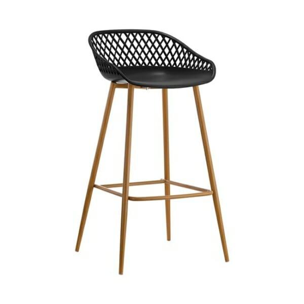 Бар стол с полипропиленова седалка и метални крака в черно
