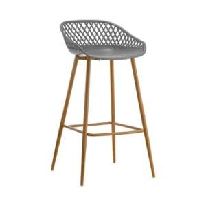 Бар стол с полипропиленова седалка и метални крака в сиво