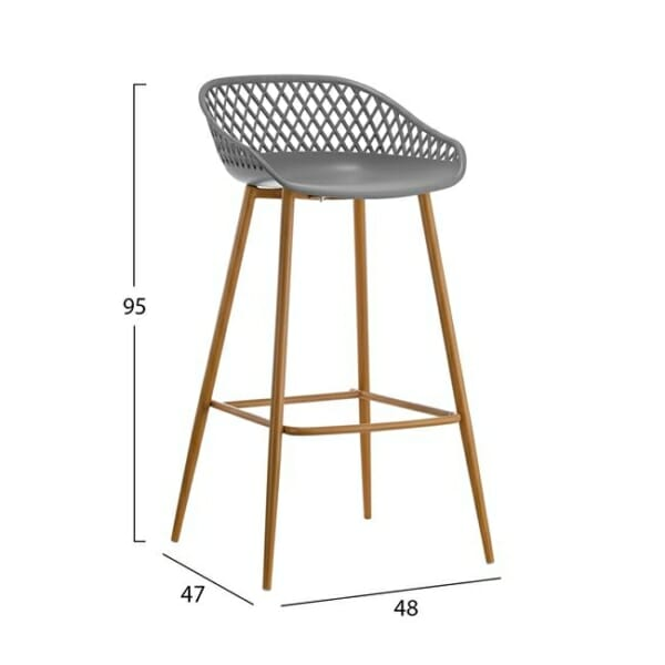 Бар стол с полипропиленова седалка и метални крака в сиво размери