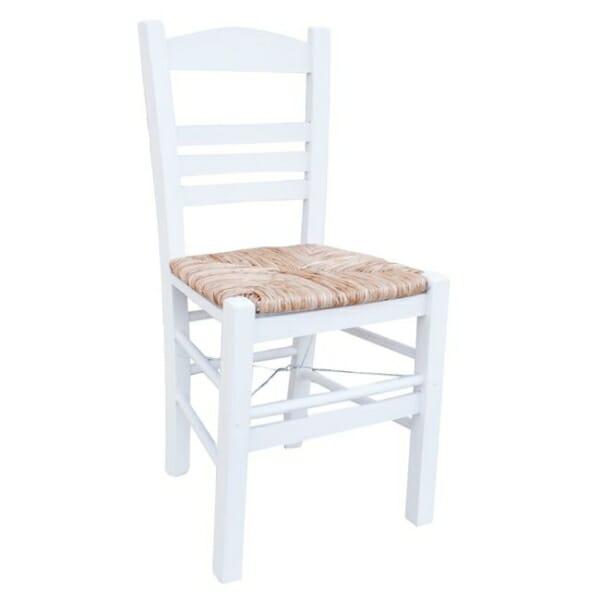 Бял дървен стол със сламена седалка Лимнос