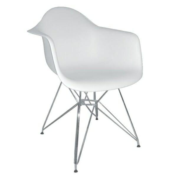 Бял стол с подлакътници и метална основа Омнит