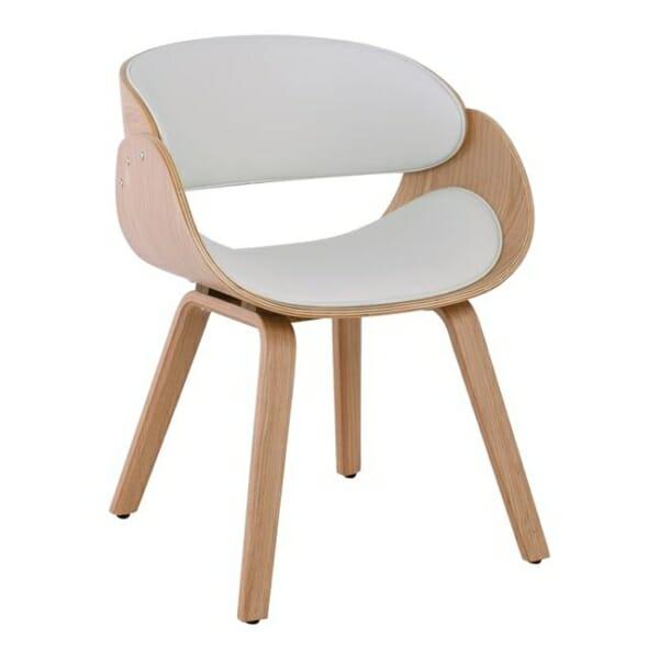Бяло ефектно кресло от дърво и еко кожа Камил