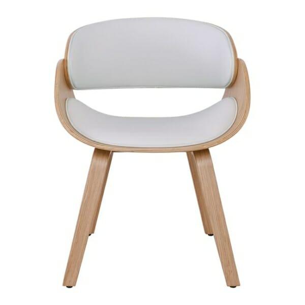 Бяло ефектно кресло от дърво и еко кожа Камил - отпред