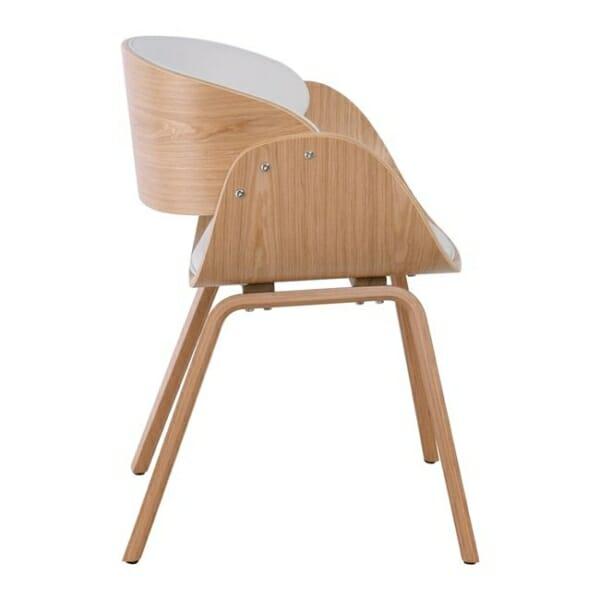 Бяло ефектно кресло от дърво и еко кожа Камил - отстрани
