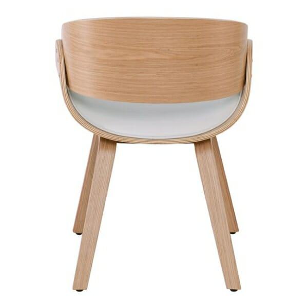 Бяло ефектно кресло от дърво и еко кожа Камил - отзад