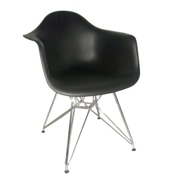 Черен стол с подлакътници и метална основа Омнит