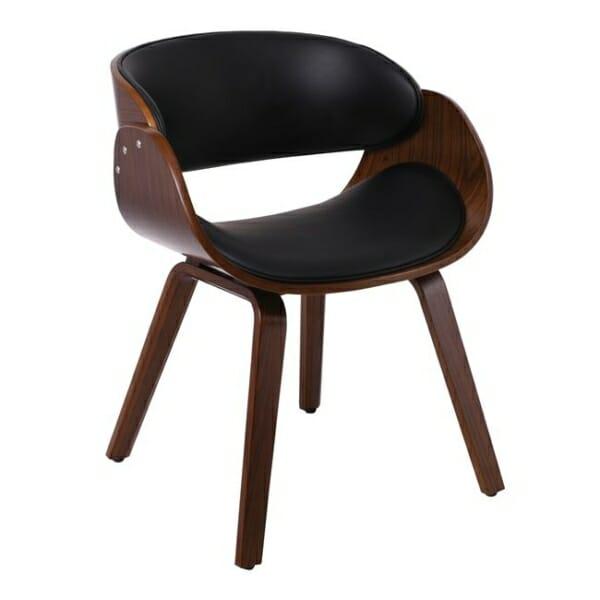 Черно ефектно кресло от дърво и еко кожа Камил