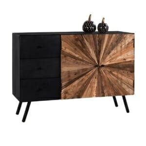 Дървен шкаф с метална основа в индустриален стил серия Нотико