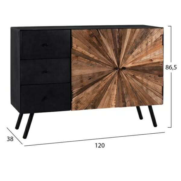 Дървен шкаф с метална основа в индустриален стил серия Нотико размери