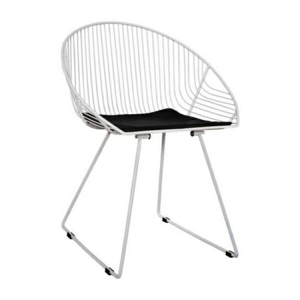 Дизайнерски стол от метал с овална форма бял