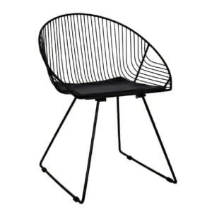 Дизайнерски стол от метал с овална форма черен