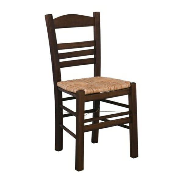 Дървен стол със сламена седалка Лимнос - цвят орех