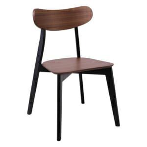 Дървен трапезен стол в цвят орех и черно Мериан