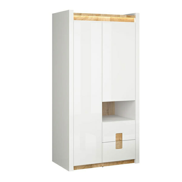 Двукрилен гардероб в бял гланц с осветление Аламеда