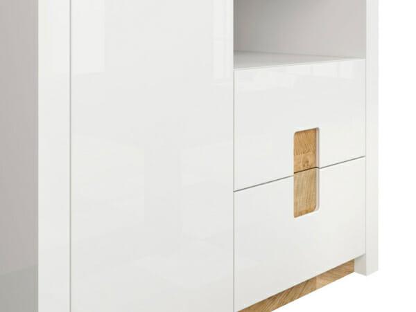 Двукрилен гардероб в бял гланц с осветление Аламеда - детайл