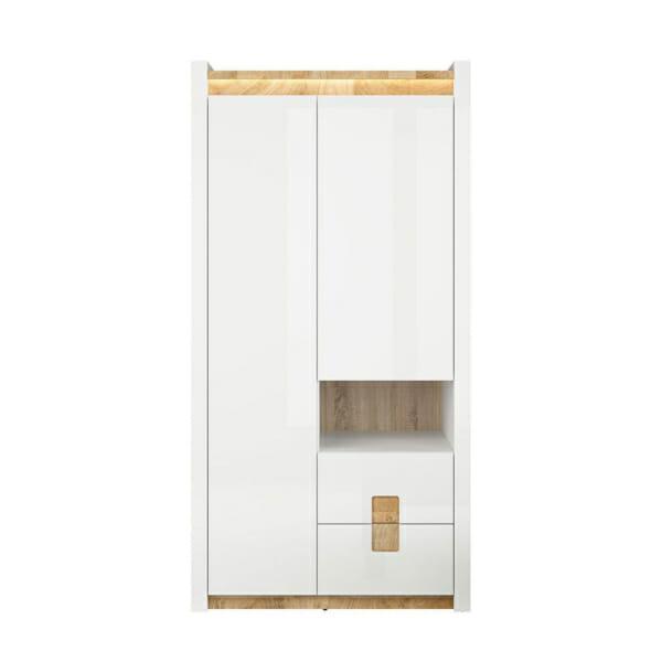 Двукрилен гардероб в бял гланц с осветление Аламеда - отпред