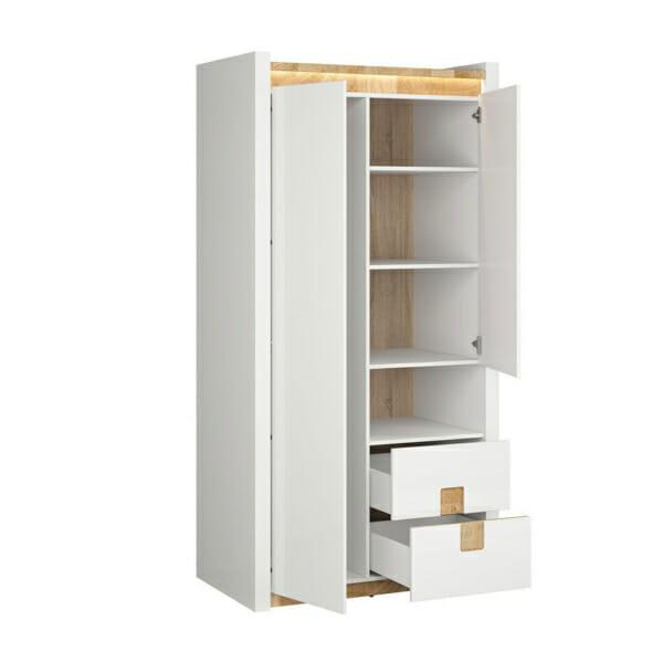 Двукрилен гардероб в бял гланц с осветление Аламеда - разпределение
