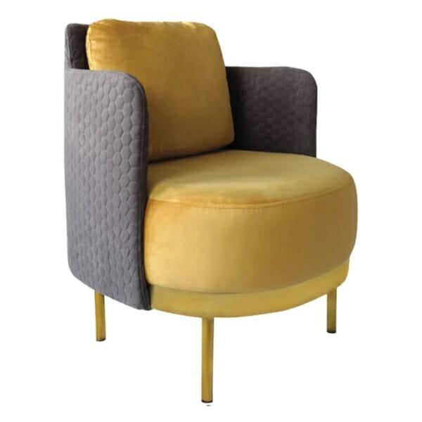 Елегантен фотьойл с метални крачета в златисто