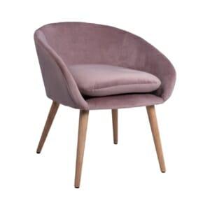 Елегантен стол с подлакътници и дървени крачета в розово