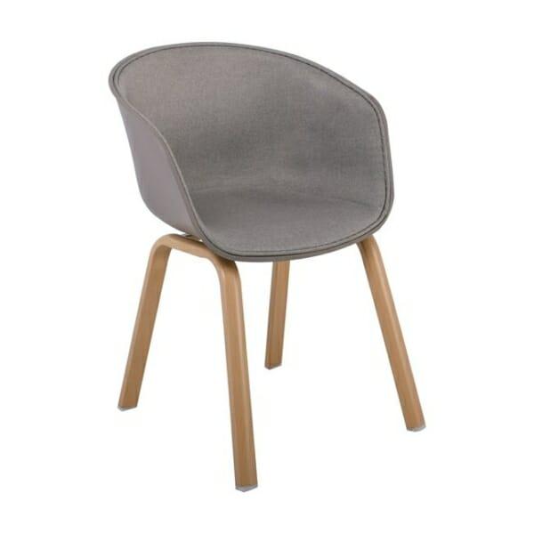 Елегантен стол с подлакътници и метални крачета Ултимо - цвят капучино