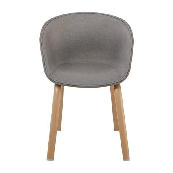 Елегантен стол с подлакътници и метални крачета Ултимо - цвят капучино - отпред