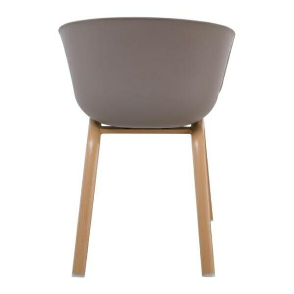 Елегантен стол с подлакътници и метални крачета Ултимо - цвят капучино - отзад