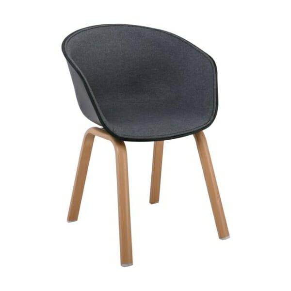 Елегантен стол с подлакътници и метални крачета Ултимо - сив цвят