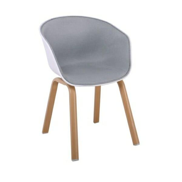 Елегантен стол с подлакътници и метални крачета Ултимо - светлосив и бяло