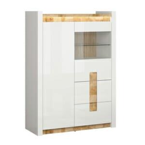 Функционален шкаф в бял гланц със стъклена витрина Аламеда
