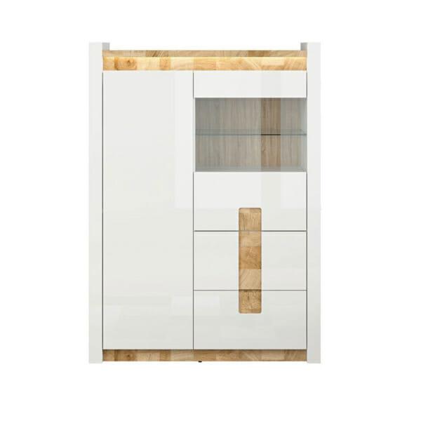 Функционален шкаф в бял гланц със стъклена витрина Аламеда - отпред