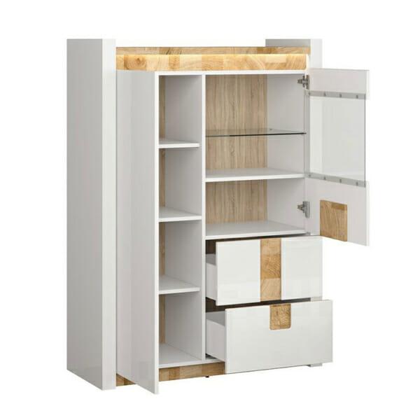 Функционален шкаф в бял гланц със стъклена витрина Аламеда - разпределение