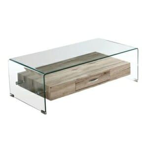 Холна маса от стъкло с рафт и чекмедже серия Глостър