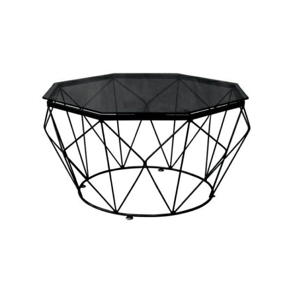 Холна маса със стъклен плот и метална основа в черно