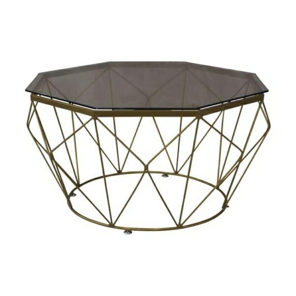 Холна маса със стъклен плот и метална основа в златисто