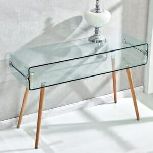 Конзолна маса със стъклен плот и дървени крака