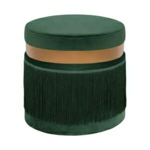 Кръгла табуретка в кадифе с декорация от ресни в зелено