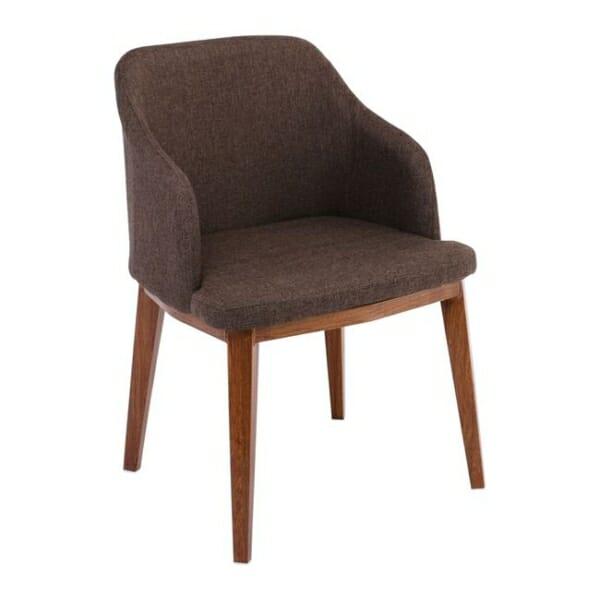 Кресло в кафява текстилна дамаска и метални крачета в цвят орех Олив