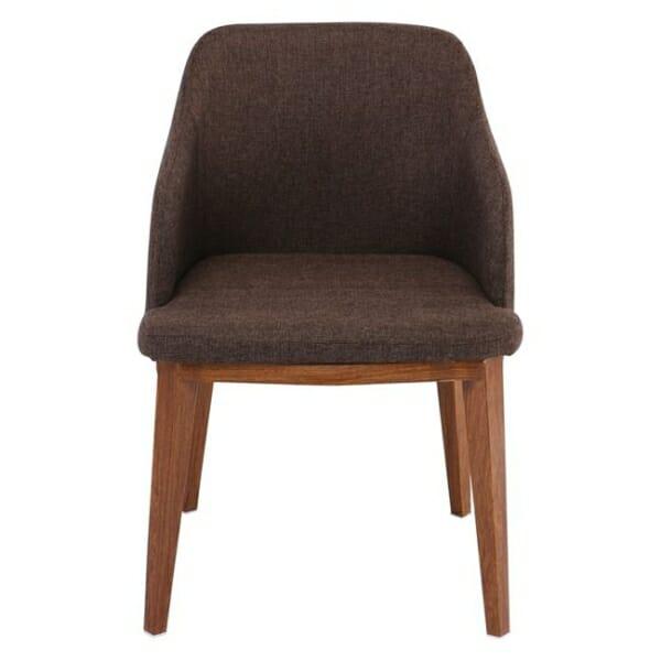 Кресло в кафява текстилна дамаска и метални крачета в цвят орех Олив - отпред