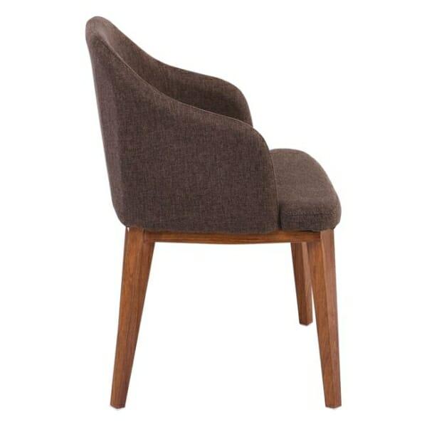 Кресло в кафява текстилна дамаска и метални крачета в цвят орех Олив - отстрани