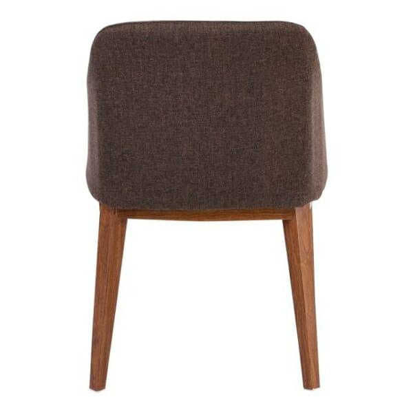 Кресло в кафява текстилна дамаска и метални крачета в цвят орех Олив - отзад