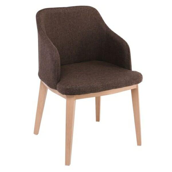 Кресло в кафява текстилна дамаска и метални крачета в натурален цвят Олив