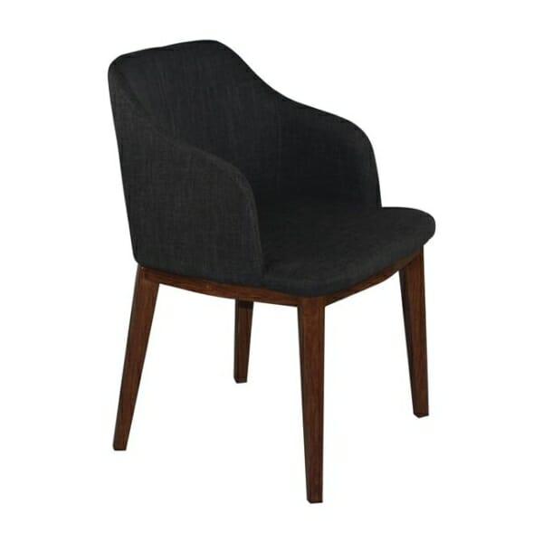 Кресло в сива текстилна дамаска и метални крачета в цвят орех Олив