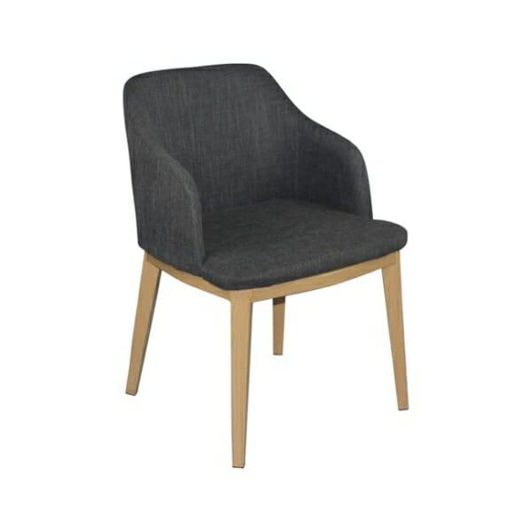 Кресло в сива текстилна дамаска и метални крачета в натурален цвят Олив
